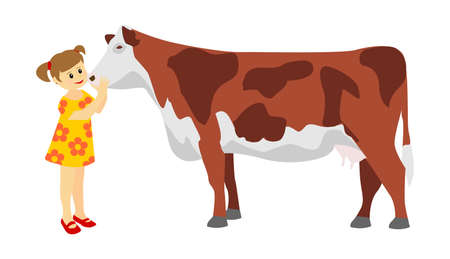 Sweet girl hugs and petting a cow. vector cartoon characters
