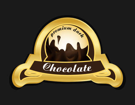 Golden chocolate label with dark wave