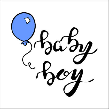 baby announcement card: Phrase baby boy hand  written lettering