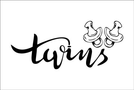 Twins hand written lettering Illustration