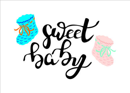 baby announcement card: Phrase sweet baby hand written lettering