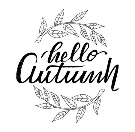 Hello autumn. Hand drawn calligraphy and brush pen lettering  Isolated on white background.