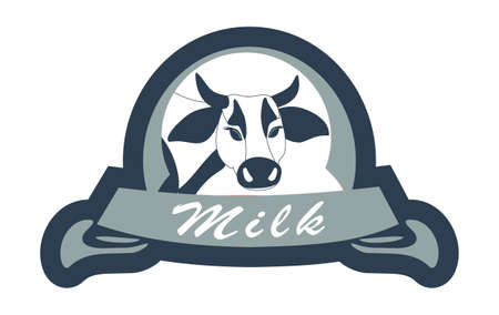 Milk label vector illustration