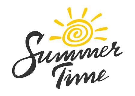 Summer time lettering vector logo illusrtation  イラスト・ベクター素材