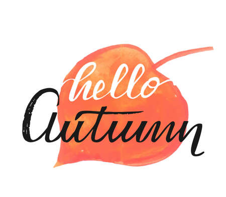 Hello autumn hand lettering phrase on red watercolor maple leaf background Ilustrace
