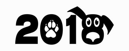 Black and white isolated logo  2018 on white background. Dog concept. Template for New Year's cards.  イラスト・ベクター素材