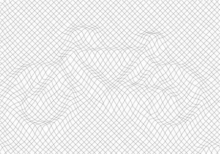 Protective abstract pattern lines in the form of a bike. White black color. Linear background. Design elements.  The protective layer for banknotes, diplomas and certificates template.  イラスト・ベクター素材