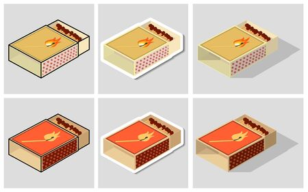 Matchbox set. Cute illustration of matchboxes in the form of: a sticker, with an outer stroke, icons with shadows. Label or logo means for igniting the fire. Vector illustration on light background.