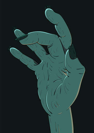 Illustration of a zombie hand. Decor element for Halloween.