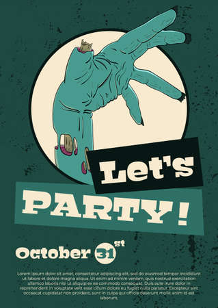 Vector illustration for Halloween. A cool zombie hand inviting to a party.