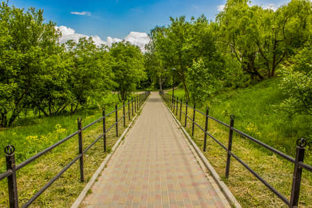 early autumn golden season park outdoor golden and green natural environment with narrow paved road with fence landscaping object for walking and promenade Stok Fotoğraf