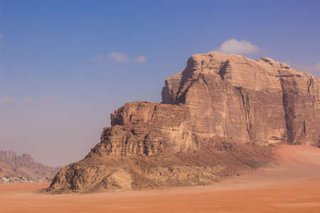 desert landscape sand valley picturesque stone mountain Wadi Rum Jordanian touristic heritage site in Middle East region travel landscape photography with empty copy space for your text