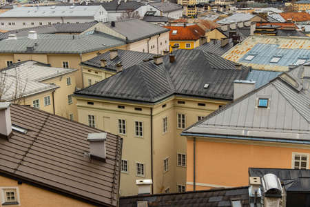 top view old town historical street district houses roofs urban landmark photography in European city Salzburg touristic site