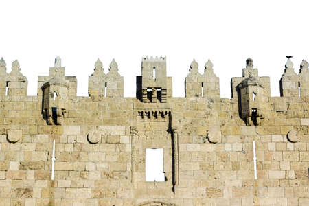 isolated on white fairy tale castle wall ancient building stone frame shape Eastern architecture style pattern concept background space for copy or text here