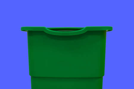 trash can for garbage cleaning and recycling nowadays actual ecology concept object on blue background space wallpaper pattern picture with empty copy space for your text here.