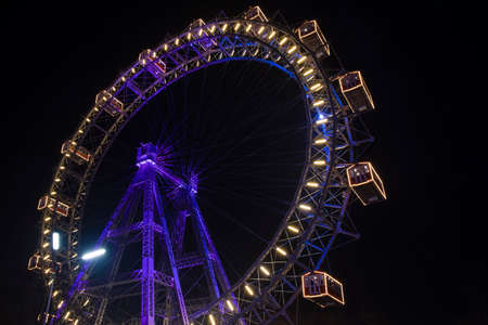 Ferris Wheel night carnival colorful illumination circle construction shape object