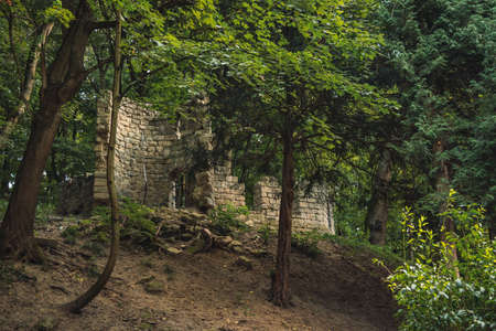 unknown castle ruins stone wall construction in Western Ukrainian forest wilderness highland outdoor environment mystic place far from civilization space