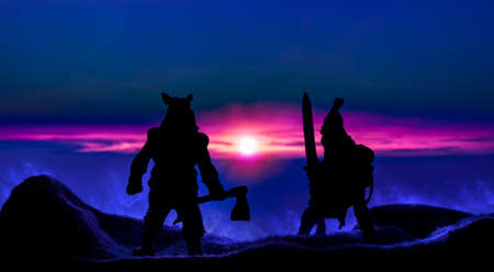 fantasy battle ancient barbarian warrior with sword and ax black silhouette in abstract mystic dramatic outdoor environment of mountain top hills in smoke and vivid pink sunset lighting on horizon