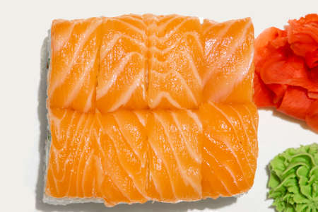 delicious salmon sushi rolls Japanese cuisine tasty food photography poster top view concept on white isolation space background