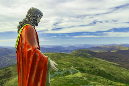 holy land Jesus Christ monument pilgrimage hiking site on top of mountain highland dramatic scenery landscape environment religion place