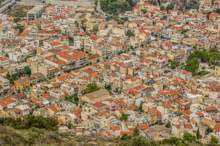 city view buildings and landmarks from above in aerial shot to red and orange roofs oh houses in one of south countries 版權商用圖片