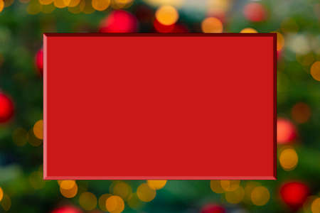 Christmas holidays advertising pattern red quadratic shape frame with empty copy space for your text here on unfocused textured background view of illumination garland sparkles in December days 版權商用圖片