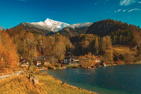 rural scenic view of European village in autumn forest mountain landscape environment space near Alps in October month 免版税图像 - 150270741