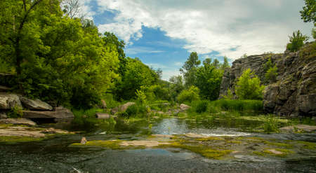 soft focus on foreground summer landscape clear weather day time rocky river stream scenic view in green trees foliage nature environment space Фото со стока