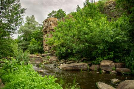 rocky river stream nature scenic view landscape Фото со стока