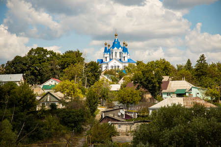 country side rural village scenic view church orthodox religion building cloudy weather day time