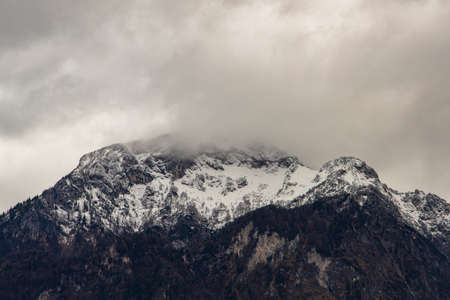 dramatic gray sky moody mountain landscape background nature photography scenic view copy space
