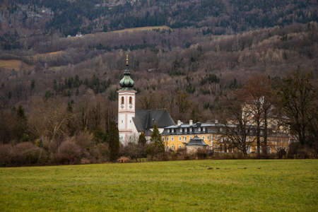 rural country side church monastery landmark scenic view in autumn moody weather rainy day time in Europe Фото со стока