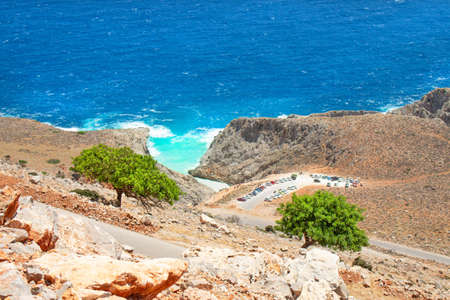Seitan limania beach on Crete, Greece. Travel tourism wide panorama background concept. Beautiful beach with turquoise water natural landscape of Seitan Limania.