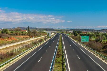 Egnatia road, Greece, Evros, Alexandroupolis. Autobahn that leads from Greece to Turkey.