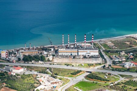 Electricity power plant on sea background. ELECTRICITY FACTORY HERAKLION CRETE, GREECE.