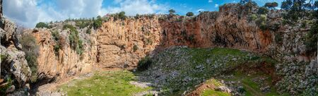 Famous Climbing Site in Crete, Greece, Voulismeno Aloni. Panoramic view of the Beautiful cliff.