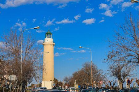 Alexandroupoli City, lighthouse and cloudy sky. Alexandroupolis, Evros, Greece.