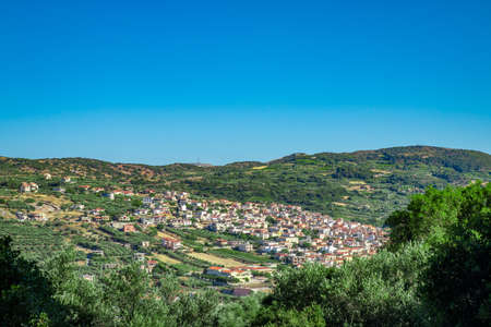 Archanes village, Greece. View from Fourni forest mountain.