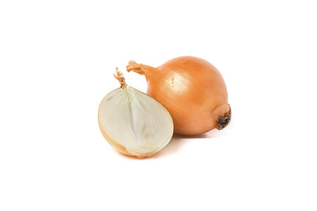 pealing: onion isolated on white