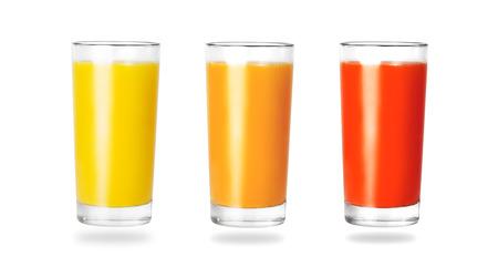 multivitamin: Glass of fresh orange multivitamin tomato juice on white background