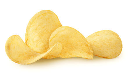 Delicious potato chips isolated on white background Imagens