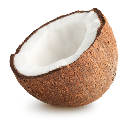 Raw brown coconut isolated on white background 스톡 콘텐츠