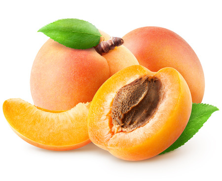 Collection of various apricot fruit slices and pieces Stockfoto