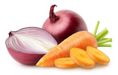 Fresh raw vegetables isolated on white background