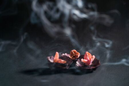 Dry flowers and clouds of aromatic smoke against a dark background. Health and meditation, oriental therapy