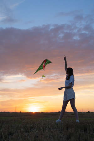 The silhouette of a slender girl with a kite against the backdrop of a beautiful sunset. Happiness and relaxation