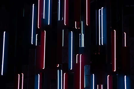 Beautiful neon static background. Futuristic red and blue lamps