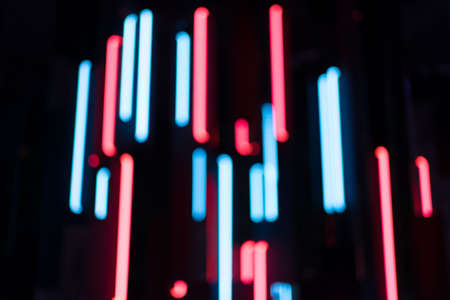 Abstract neon background. Futuristic blurry blue and red lights defocused Foto de archivo