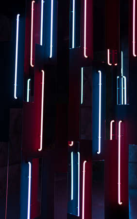 Futuristic neon lines. Abstract background of blue and red colors