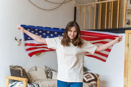 US person. An American woman. Portrait of a Happy Patriot